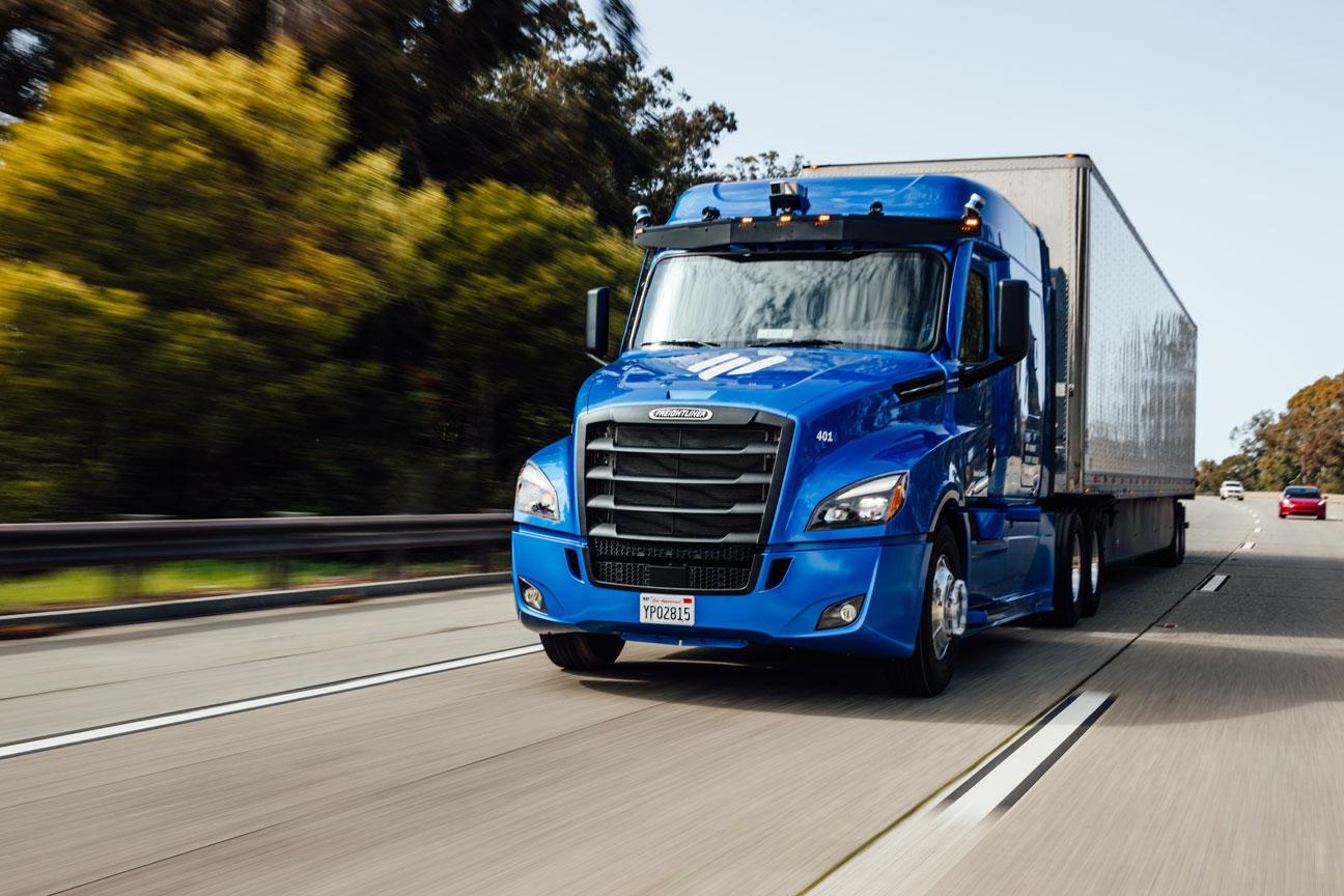 Photo of an Embark truck driving.